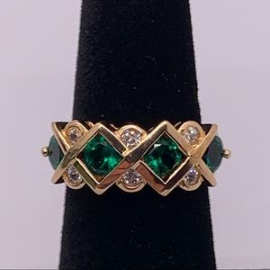 Gold plated 925 green quartz and clear CZ ring